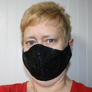 HANDMADE Black Sequin Fabric Face Mask Shield